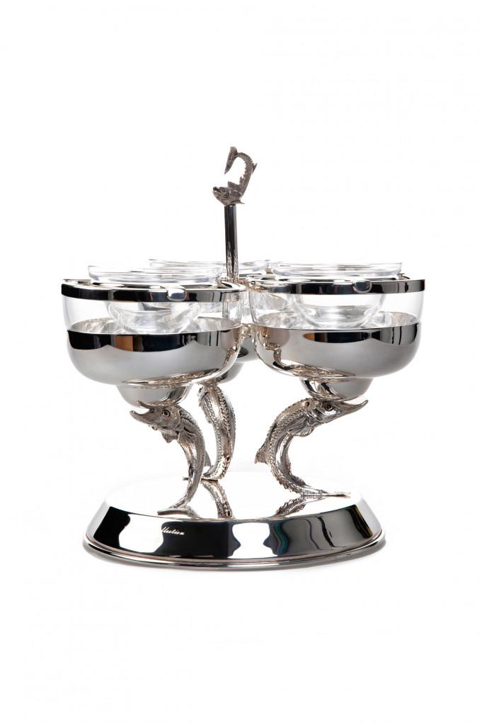 Купить Блюдо для икры Black Diamond Triple Caviar on 3 Sturgeo FABERGE